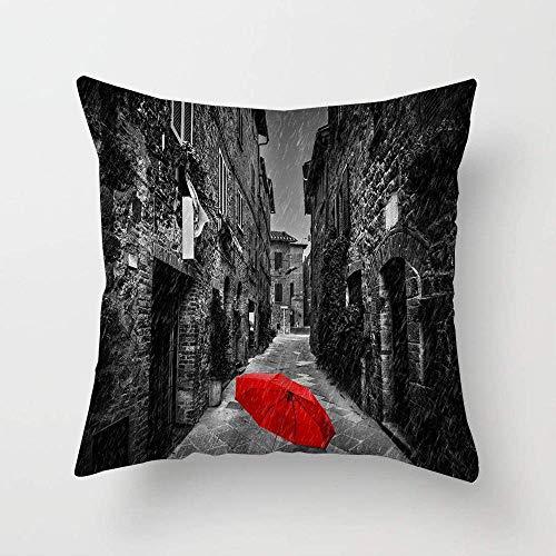 N\A Paraguas en una Calle Oscura y Estrecha en una Vieja Funda de Almohada Italiana Funda de cojín Funda de Almohada Cuadrada para sofá de Dormitorio
