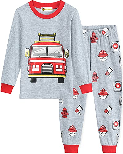 MOLYHUA Bagger Schlafanzug Lang Jungen Feuerwehr Zweiteiliger Nachtwäsche Pjs Baumwolle Kinder Pyjama 92 98 104 110 116 122