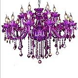 ZCRFYY Cristalinas de la lámpara/Violeta, E14 lámpara Colgante Llama, luz Colgante clásico con Cristales Decorativos, Adecuado para lámparas LED, Vintage/diseño Retro [energética A ++],15