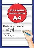 Quaderno per Esercizi di Calligrafia: 109 Pagine A4 Righe Larghe per Scrittura a Mano, Hand Lettering, Appunti | Righe Grandi con Linea Tratteggiata in Mezzo | Scuola Elementare e Principianti | Blu