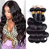 Brazilian Hair Bundles Body Wave Unprocessed Remy Human Hair Malaysian Virgin Hair 3 Bundles Body Wave Bundle Weave Same Day Delivery Tangle-Free Grade 9A Natural Color 24 26 28 Inch