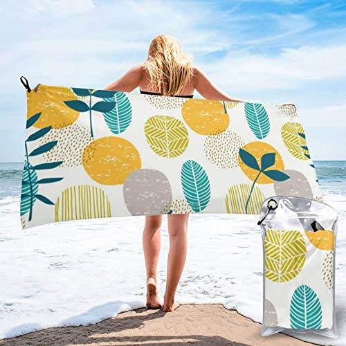Unique Life Yello Blue Piña Toalla de baño, toalla de gimnasio, toalla de playa, microfibra suave de secado rápido, ligera