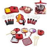 deAO Conjunto Utensilios de Cocina y Comida de Juguete- Juego de Ollas y Cacerolas de Imitación Accesorios de Cocina Infantil (30 Piezas)