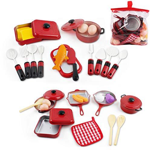 deAO Conjunto Utensilios de Cocina y Comida de Juguete  Juego de Ollas y Cacerolas de Imitación Accesorios de Cocina Infantil (30 Piezas)