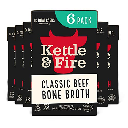 Beef Bone Broth Soup by Kettle and Fire, Pack of 6, Keto Diet, Paleo Friendly, Whole 30 Approved, Gluten Free, with Collagen, 10g of protein, 16.9 fl oz (Packaging May Vary)