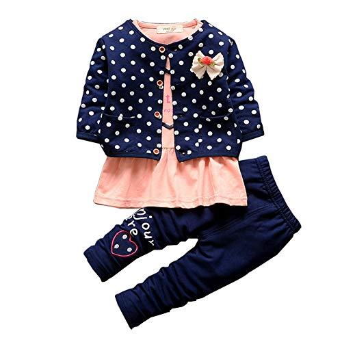 Gyratedream Mädchen T-shirt Jacke Hosen 3Pcs Kleidung Sets Casual Trainingsanzüge Langarmshirts + Hosen + Outwear Bekleidung für 1-5 Jahre Kinder Baby