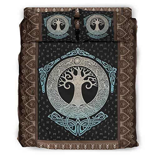 Haythan Juego de ropa de cama con diseño de árbol vikingo de la vida, 4 piezas, 240 x 264 cm, color blanco