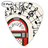 Guitar Picks - Abstract Art Colorful Designs,Cartoon Antique Old Vintage Radio Music Box Party With Notes Artwork,Unique Guitar Gift,For Bass Electric & Acoustic Guitars-12 Pack