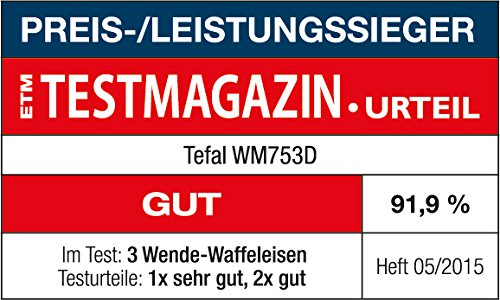 Tefal WM753D Waffeleisen Kingsize Edelstahl, schwarz
