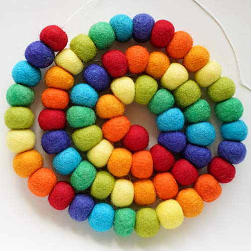 Decomod 100% Wool Felt Ball Garlands Pom Pom 5FT Long 65 Balls - Large (Rainbow (Standard))