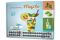 カレンダー Perpetual Calendar Alcohol Retro Strawberry Mojito Tin Metal Magnetic Kitchen