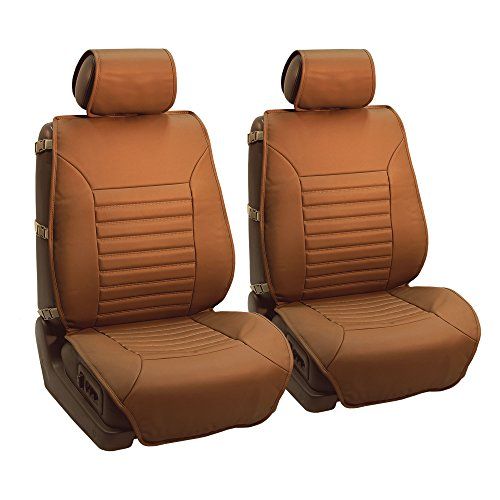 FH Group PU206TAN102 Tan Multifunctional Quilted Leather Front Seat Cushion, Set of 2 (W. Seatback...
