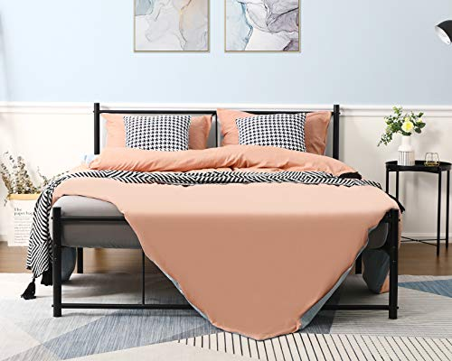 Alecono Double Bed Frame 4ft 6 Reinforced Metal Platform Bed with Headboard Black
