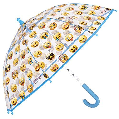 Paraguas amarillo con emojis transparente de cúpula