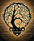 Familienbaum Lebensbaum LED mit bis zu 6 Namen Baum Lasergravur Geschenke Wohnzimmer Schlafzimmer Familie Deko LED Schlummerlicht Nachtlicht