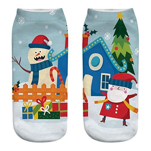 AIni Calcetines de Navidad para Niño Niña Calcetín Lindo de Algodón Antideslizante Mujer Calcetines Impresos en 3D de Dibujos Animados Reno Calcetines Termicos de Invierno para Señora Regalo Navidad