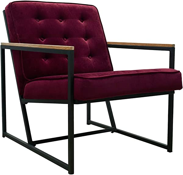 Mid Century Modern Accent Chair Burgundy Upholstered Velvet Armchair Tufted Arm Lounge Chair Single Sofa Chair With Black Metal Frame Living Room Furniture