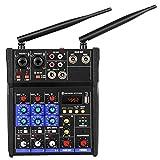 ACAMPTAR Consola Mezcladora de Audio de 4 Canales con MicróFono InaláMbrico Mezcla de Sonido con Mezclador de DJ USB