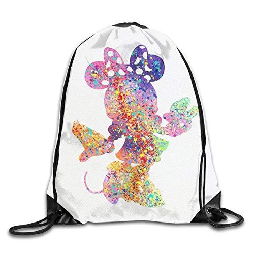 LREFON Acuarela Mi-ckey Minnie Mouse Bolsa con cordón Mochila de Gimnasio Hombre Mujer Bolsa de Hombro de Almacenamiento Deportivo
