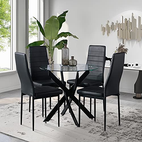 GOLDFAN Dining Table and Chairs Set 4 Modern Glass Round Dining Kitchen Table and Faux PU Leather Chairs Dining Room Set, Black
