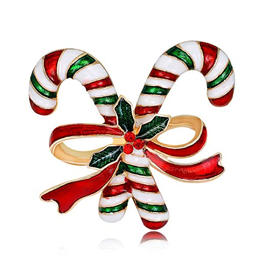Fesciory Christmas Brooch Pins for Women, Multi-Colored Rhinestone Crystal Enamel Christmas Jewelry Gift for Girls(Enamel Candy Cane)