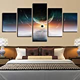 PEJHQY Spaceman Earth Jupiter Venus Sun Moon Universe 5 Piezas de Pared para Sala de Estar Color Painting Art Home Decor Abstract,Cuadro en Lienzo Coches
