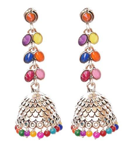 Pahal - Pendientes de plata larga con perlas multicolor oxidadas