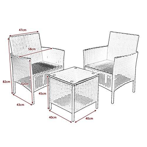 WSDJ Juego de muebles de jardín de ratán de 3 piezas para patio al aire libre, incluye cojín, una mesa de cristal