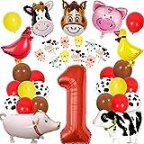 Animales de granja Decoraciones de cumpleaños para el corral Suministros para fiestas de animales Niños Niñas Primer cumpleaños con adornos para tortas Animales de granja Globos para caminar