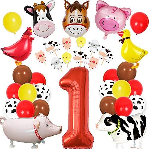Fangleland Farm Animal 1. Geburtstag Dekorationen Barnyard Animal Party Supplies Jungen Mädchen ersten Geburtstag mit Cake Toppers Farm Animal Walking Ballons