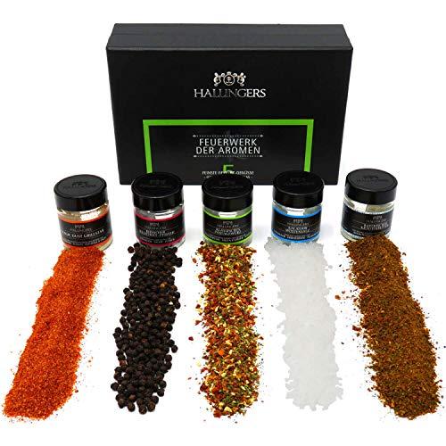 Hallingers 5er Premium-Grill-Gewürze als Geschenk-Set (100g) - Feuerwerk der Aromen (MiniDeluxe-Box) - zu Sommer Grillen Für Ihn