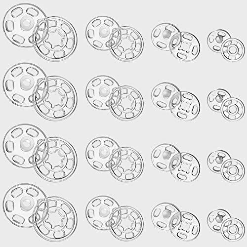 Chuangdi 100 Paare Kunststoff Knopf Kunststoff Druckknöpfe Unsichtbar DIY Kleidung Knöpfe Hemd Aufnähen Knöpfe für DIY Kleidung Knöpfe, 7 mm, 12 mm, 15 mm, 21 mm (Klar Farbe)