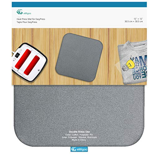 Heat Press Mat Double Sides Used Ironing Insulation Mat for Cricut Easypress, T Shirts and HTV Vinyl Projects, 12 x 12 inches