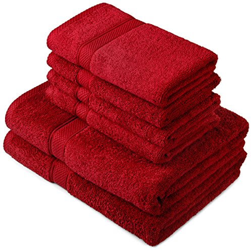 Pinzon by Amazon Handtuchset aus Baumwolle, Cranberry-Rot, 2 Bade- und 4 Handtücher, 600g/m²