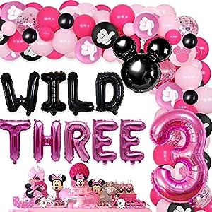 JOYMEMO Minnie Themed 3rd Birthday Party Decorations Wild Three Balloon Garland Kit 3 Years Old Girls Birthday Party Supplies