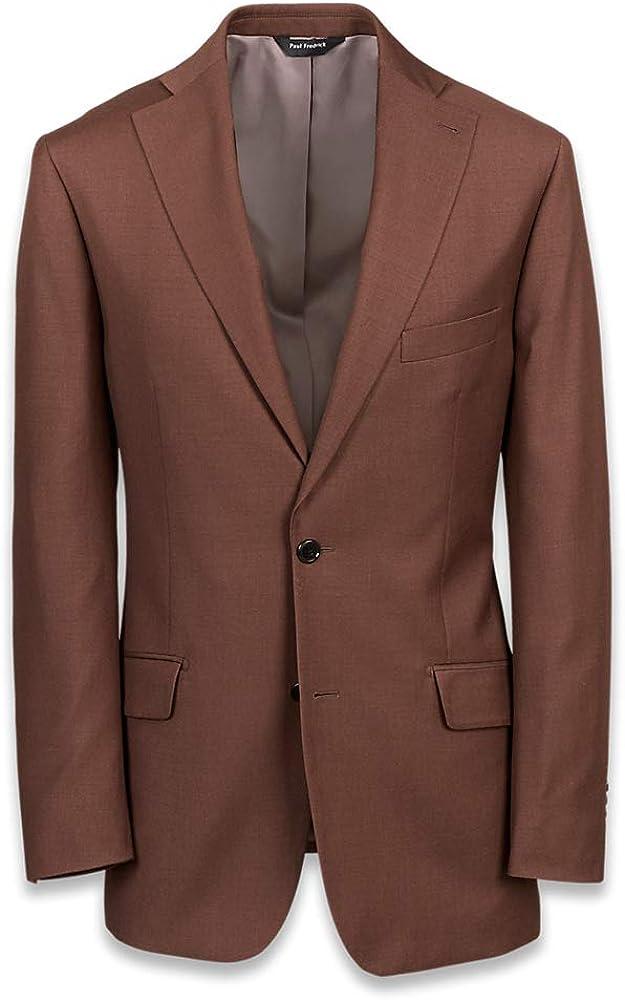 Paul Fredrick Men's Solid Wool Notch Lapel Suit Jacket