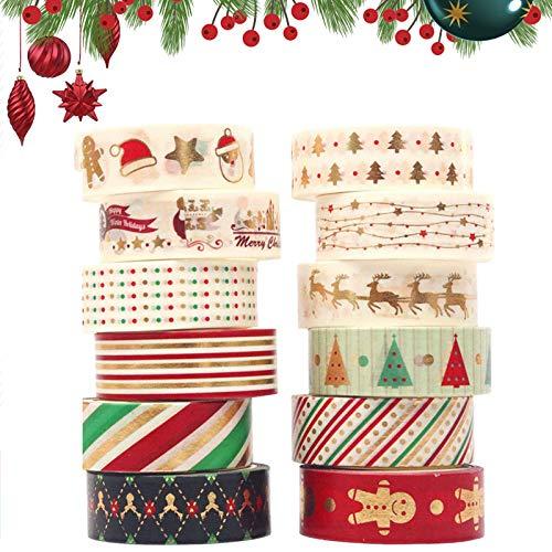 Rollos de Cinta Adhesiva Decoraciones Navideñas Cintas de Washi Decorativas de Scrapbooking Washi Tape Navidad Cinta Adhesiva Fácil de Usar y Lindo Diseñado para Scrapbooking DIY Navidad Manualidades