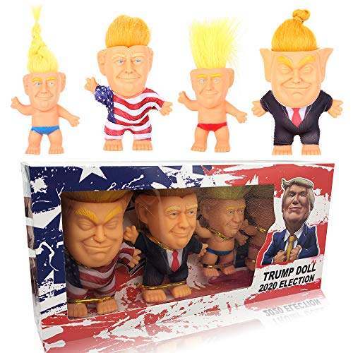 RACODA Donald Trump 2020 Election Collect Modle Long Hair Troll Doll 4pcs DIY Wearing Suit Flag Clothes Doll