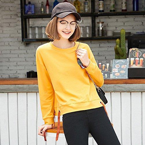Women's Sweater Frühjahr Stickerei Rundhals Kurzarm Lose Damenmode Pullover,Gelb,M