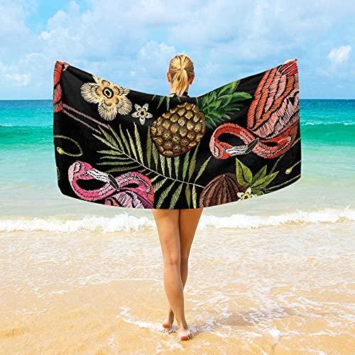 Toalla De Playa Microfibra,Flamingo Palmera Tropical Hojas Flor Fruta Coco Altamente Absorbente Compacto Ligero Y De Secado Rápido Toalla De Playa/Deportivas para Viajes,Gimnasio,Acampar,Nadar,Yoga,