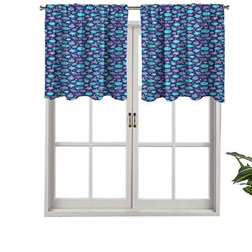 Hiiiman Cortina opaca con bolsillo para cortina, diseño de conchas, corales sobre fondo punteado, inspiración marina, juego de 1, 137 x 45 cm para sala de estar, cortina recta corta