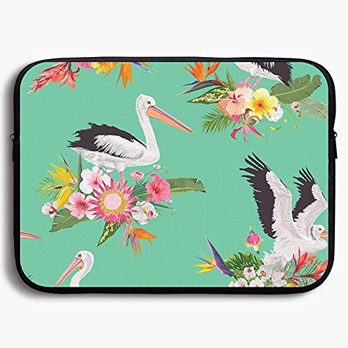 15 Inch laptop Case Sleeve Case Bag, Tropical Nature Seamless Pattern with Pelicans for Portable Carrying Protective Cover