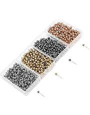 4 cajas de pernos con cabeza de perla, herramienta de marcado para costura de confección, 200 piezas para cada color