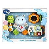 VTech - Coffret naissance - Eveil des sens - Cadeau de naissance avec premiers jouets de Bébé - bleu – Version FR