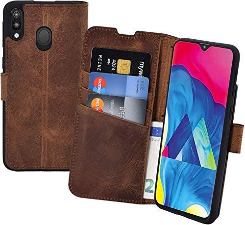 Suncase Book-Style Hülle kompatibel mit Samsung Galaxy A40 Leder Tasche (Slim-Fit) Lederhülle Handytasche Schutzhülle Hülle mit 3 Kartenfächer in antik-Coffee