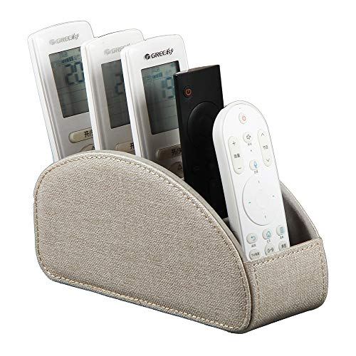 Laikesj Leather TV Remote Control Holder with 5 Compartments Remote Caddy Desktop Organizer Store TV DVD BluRay Media Player Heater Controllers Beige