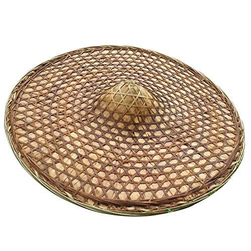 N\C Sombrero chino de bambú de la mano Coolie unisex al aire libre chino sombrero oriental cónico sombrero divertido fiesta sombreros oriental sombrero arroz granjero sombreros 1 unids