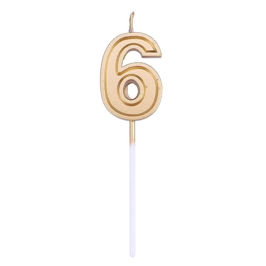 YeahiBaby 番号6キャンドルゴールドラメ誕生日番号キャンドルケーキトッパー装飾