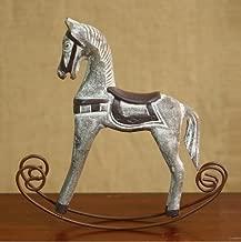 URToys 1Pcs Retro Wooden Crafts Rocking Horse Desk Decor Balance Art Figurines Home Office Decor DIY Bar Living Room Ornament Kids Toys 3 Colors