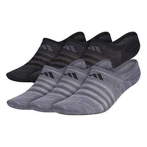 adidas Superlite Super No Show Calcetines para hombre (6 pares) Super No Show Sock (paquete de 6), Hombre, Calcetines superno mostrados, 978895, Onix Gris/Negro, L